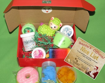 Nice list card and box from Santa includes 4 slimes + 3 squishies+ 3 surprise stocking stuffers 10 piece Slime Mystery box gift