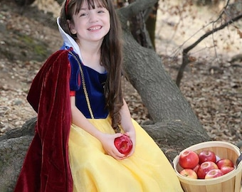 New hooded princess snow white Little Red riding hood Inspired Costume  soft cape girl toddler 3-6 years dress up burgundy