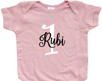 first birthday baby bodysuit top shirt outfit girl 12 months 1st birthday personalized with name tutu