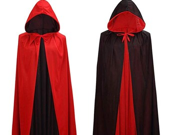 SALE Long black Red cape reversible hooded  Wizard witch vampire costume adult unisex  men women teen SHIPS TODAY