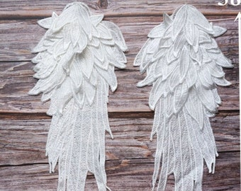 Embroidery Angel Wing Applique Sewing Flower Collar Patch For Wedding Party Gown Bridal Dress Clothes DIY Crafts
