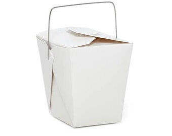 10 pieces Chinese Take out Box white with wire handle 16 oz