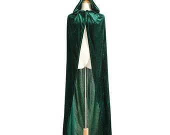 Long Medieval cape Velvet hooded Cloak Fairy Fantasy renaissance Princess Wizard costume green