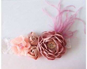 Girl child baby satin Rhinestone flowers lace feathers wedding flower girl communion birthday baptism headband beige rose mauve pink