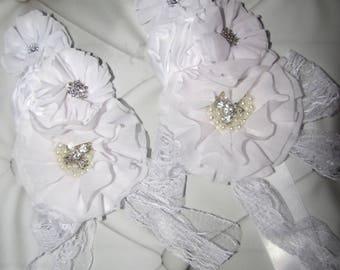 Girl child baby Lace satin Rhinestone flowers picture prop wedding flower girl comunion birthday baptism sash belt and headband white 2pc