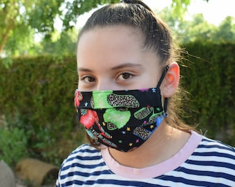 face mask reusable travel protection washable cotton lined with filter pocket 2 layers Adult  child women cover