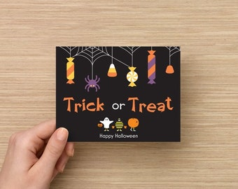 "trick or treat cards postcards happy Halloween 4.2"" x 5.5"" glossy front"