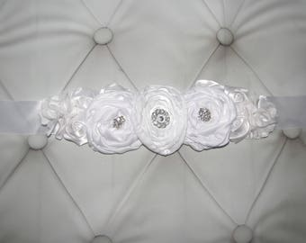 Women child baby satin Rhinestone flowers wedding dress flower girl comunion birthday mom to be pregnancy maternity sash belt white