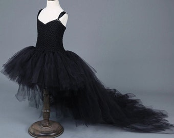 girl tutu dress wedding flower girl Dance Ballet Costume crochet high and low tulle white black gray pink Birthday