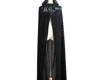 SALE! Long Medieval cape Velvet hooded Cloak Fairy Fantasy Vampire Wizard Witch costume black Halloween adult women unisex child