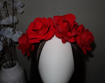 flower halo wreath headband hair accessory hair piece wedding flower girl birthday crown clip red roses