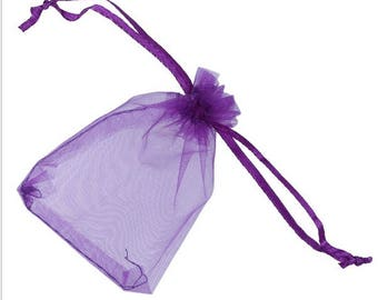 """new 100 pieces 2"""" x 3"""" MINI Organza Bags Party Favor Gifts wedding pouches jewerly candy eggplant purple 100"""