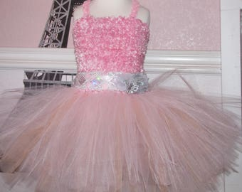 Girl child toddler Crochet tutu Dress sequin stash pink peach  3-5 years  flower girl wedding birthday dress SALE