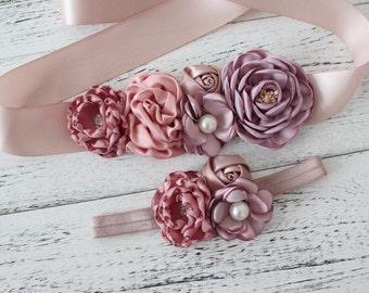 Girl child women satin Rhinestone flowers wedding dress flower girl comunion birthday baptism sash belt and headband rose mauve pink 2pc