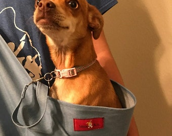 Denim Pet carrier sling for dogs cats tote bag purse Blue