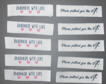 20 Handmade with love Pretend you like it woven label tag clothes fabric crafts scrapbook papercrafts sew on heart labels card making