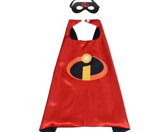Super hero child cape with felt mask birthday party pretend play dress up halloween costume inspired on Incredibles