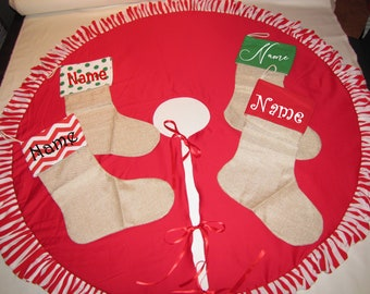personalized stockings Tree skirt Whimsical red striped ruffles Christmas denim Farm house home decor 40""