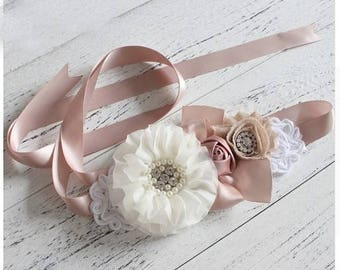 Women child baby satin Rhinestone pearls flowers wedding dress flower girl birthday sash belt rose vintage style pregnancy maternity
