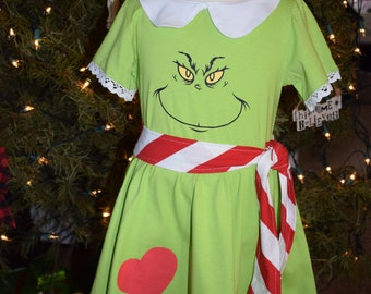 Holiday Christmas girl Grinch party dress ugly sweater costume toddler outfit child 2 - 16 years