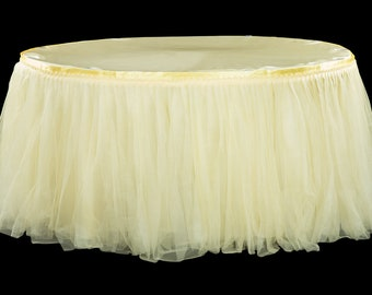 14ft banquet Tulle Tutu Table Skirt Wedding Baby Shower 1st Birthday party supplies  bridal quinceañera maize  light pastel yellow