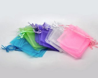 """100 pieces 2"""" x 3"""" MINI Organza Bags Party Favor Gifts wedding baby shower pouches jewerly candy  apple green turquoise pink purple white"""
