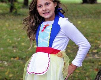 Snow white inspired apron tutu dress tea party Birthday 3-8 yrs girl Christmas gift pretend princess