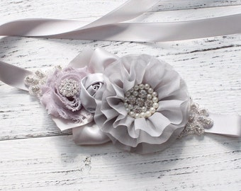 Women child baby satin Rhinestone pearls flowers wedding dress flower girl comunion birthday baptism sash belt silver gray