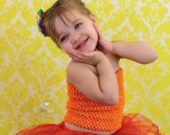 "Girls baby child unlined lined Crochet tutu top tube 1-12 years DIY flower girl wedding dress birthday costume orange  6"" 7"" 8"" 10"" 12"""