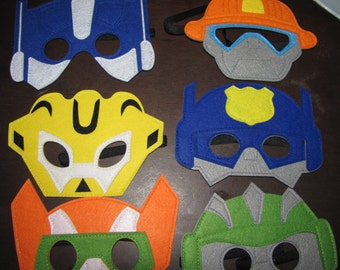 Robot transformers mask felt mask birthday party pretend play dress up  costume inspired on Bumblebee Optimus Prime megatron