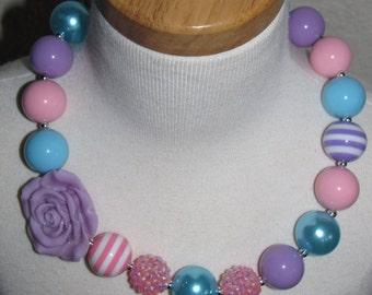 new Acrylic chunky beads bubblegum gumball jewlery girl Necklace pink turquoise purple flower Birthday Free shipping