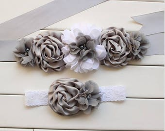 Girl child baby satin Rhinestone flowers wedding dress flower girl comunion birthday baptism sash belt and headband gray silver lace 2pc