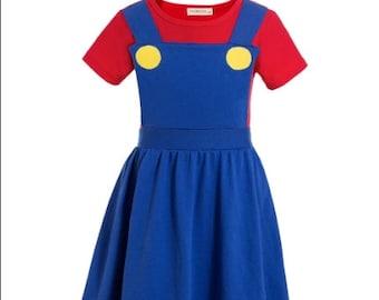 child Luigi and Mario Brothers Halloween costume inspired  dress 2 - 8 yrs