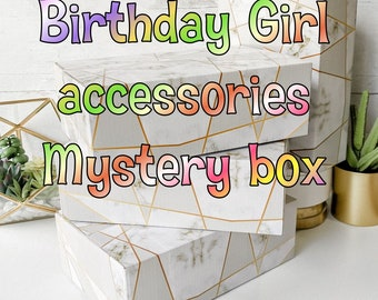 Birthday mystery box gift Valentines Girl fashion and hair accessories slime squishies cute items +5 yrs tween