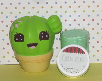 squishy and slime  green apple  scented foam balls and surprise charm cactus