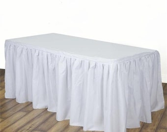 White or ivory Polyester Table cloth decor Skirt Wedding Baby Shower first Birthday party supplies You choose color