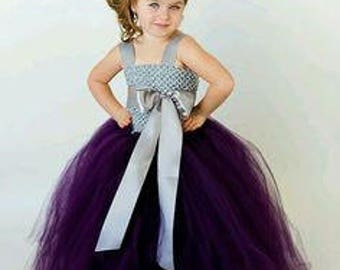 new Girls  girl child toddler Crochet tutu Dress gray silver 4-6 years  flower girl wedding birthday dress  + Colors