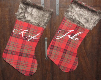 personalized stockings  Christmas Farm house home decor fur 17""