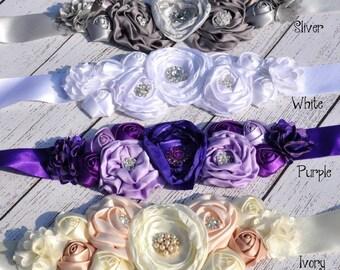 Women child baby satin Rhinestone flowers wedding dress flower girl comunion birthday baptism sash belt purple gray white beige peach silver