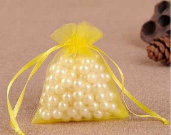 """new 100 pieces 2"""" x 3"""" MINI Organza Bags Party Favor Gifts wedding baby shower pouches jewerly candy yellow 100"""