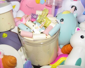 MYSTERY unicorn slime + extras + 1 free SQUISHY