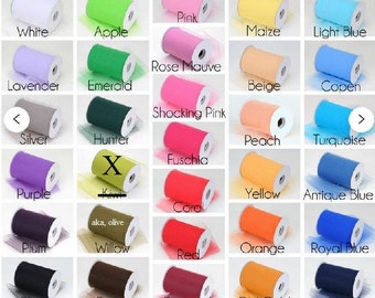 "6"" X 100 Yards roll tulle fabric ribbon Tutu  Bridal Bows 23 Colors U choose color"