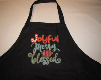 Holiday Christmas women mom dad teen grandma grandmother gift apron one size blessed joyful