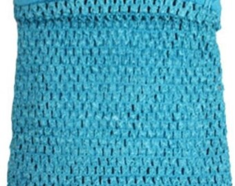 new Girls XL 11x9 Inch lined Crochet tutu top tube many  colors you choose    Turquoise size 6-12 girls
