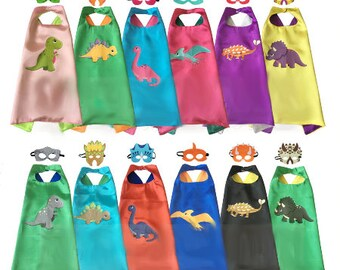 Wholesale party pack super hero mask felt and cape birthday party pretend play dress up  costume pirate princess turtles blank dinosaur