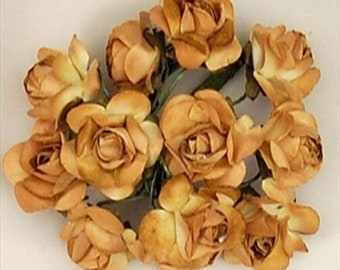 """new gold brown Paper Rose Wedding Flowers Favor Decorate 200 flowers 1"""" FREE SHIPPING"""
