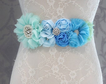 Girl child baby maternity satin Rhinestone flowers wedding dress flower girl comunion birthday baptism sash belt headband aqua blue 2pc