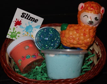 Easter basket Slime box goodie bag and slime supplies + extras gifts squishy