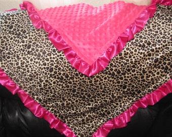"New Baby nursery receiving blanket girl shower gift  40"" satin ruffle edge faux fur animal print"