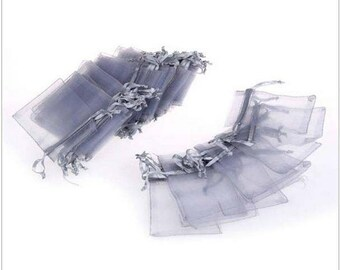 """new 100 pieces 2"""" x 3"""" MINI Organza Bags Party Favor Gifts wedding pouches jewerly candy silver gray 100"""